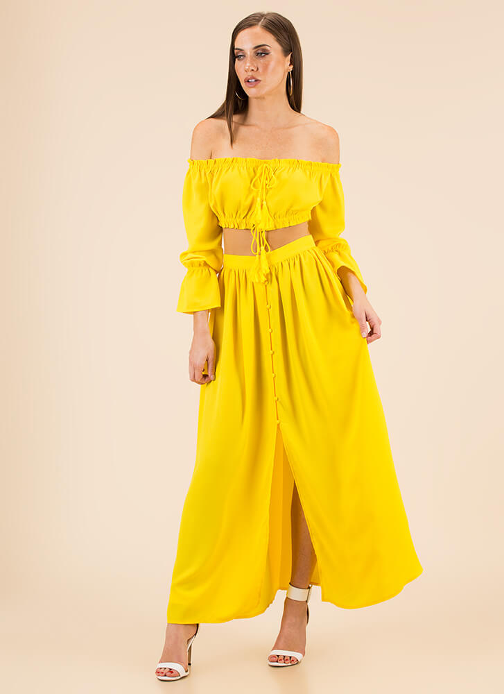 Storybook Off-Shoulder Top And Skirt Set YELLOW