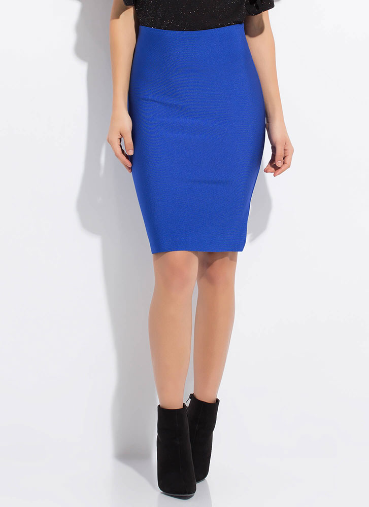 Hug My Curves Bandage Pencil Skirt ROYAL