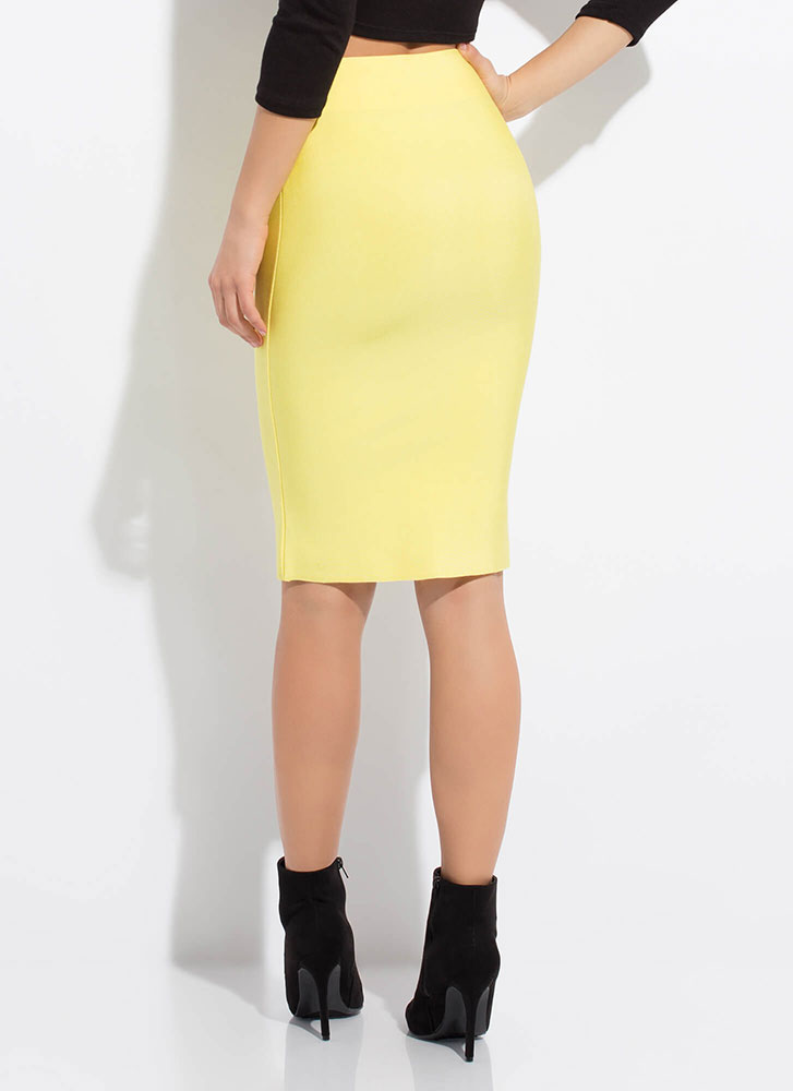 Hug My Curves Bandage Pencil Skirt YELLOW