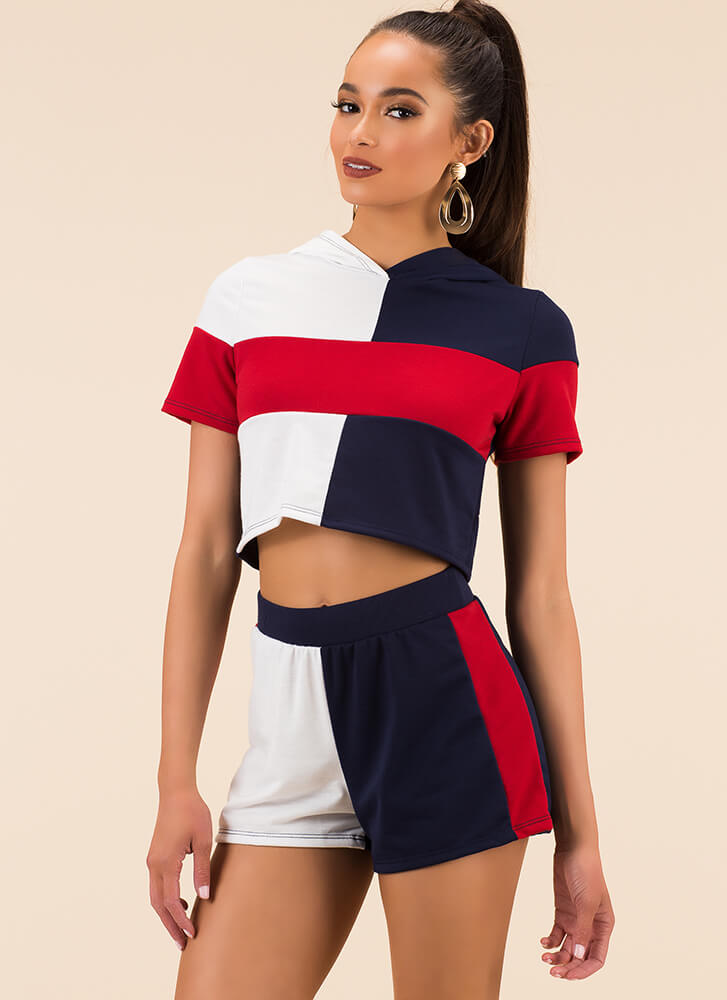 Colorblock Me Top And Shorts Set NAVYMULTI