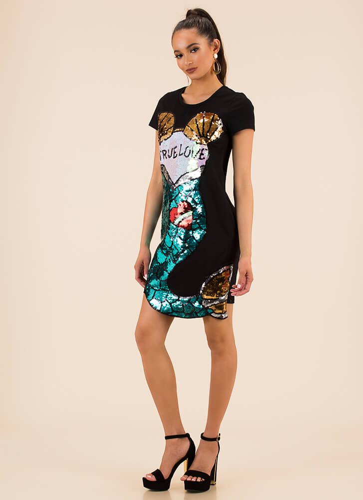 A Mermaid's True Love Sequined Dress BLACK (You Saved $24)