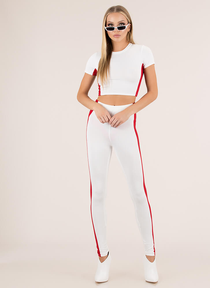 Sports Match Striped Top And Legging Set WHITE