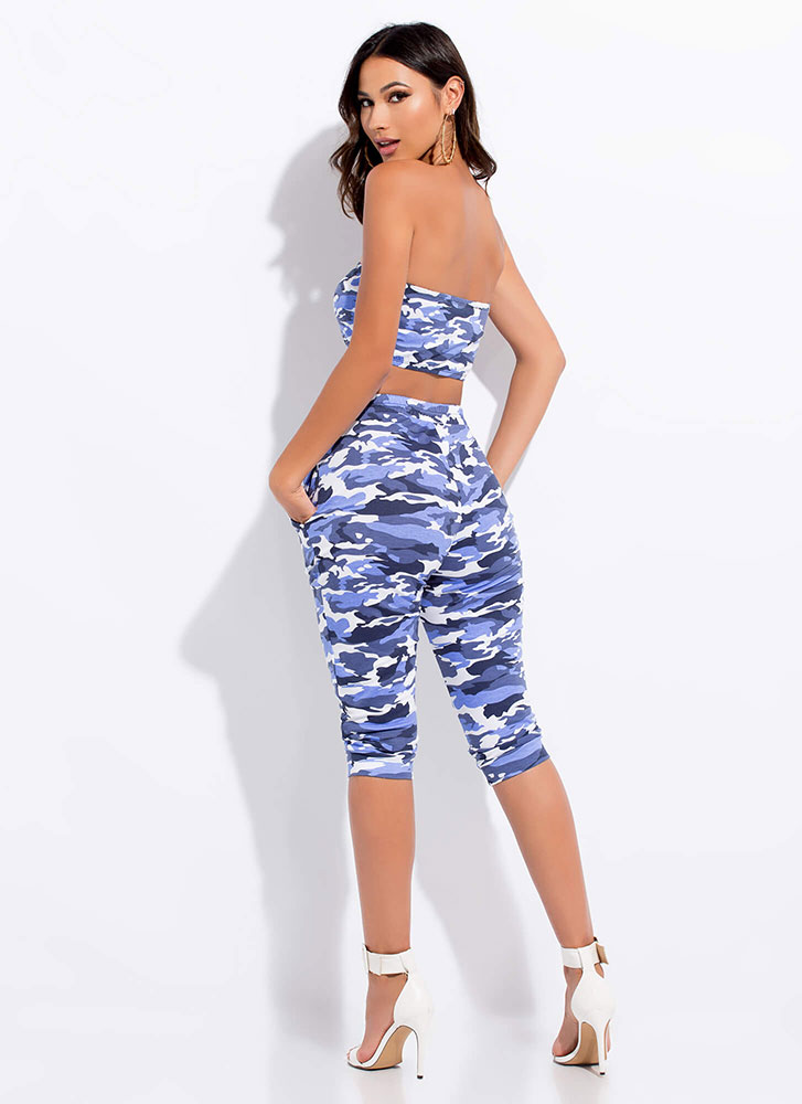 Keep It Camo Tube Top And Capri Pant Set BLUE