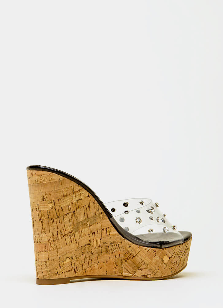 Clearly Perfect Jeweled Mule Wedges BLACK