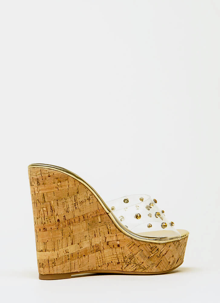 Clearly Perfect Jeweled Mule Wedges GOLD