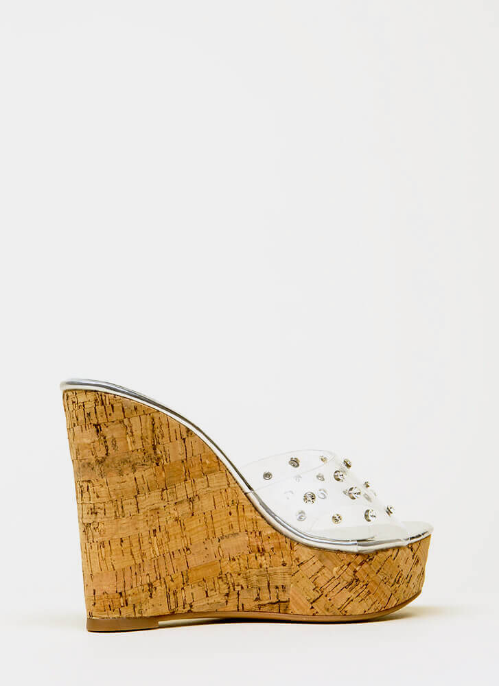 Clearly Perfect Jeweled Mule Wedges SILVER