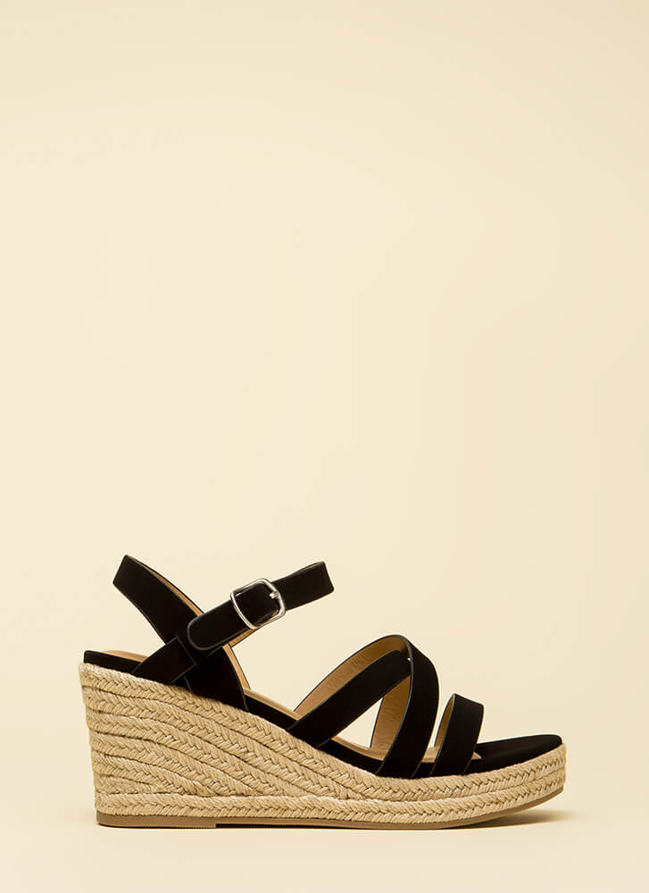 Strappy-Go-Lucky Braided Wedges BLACK