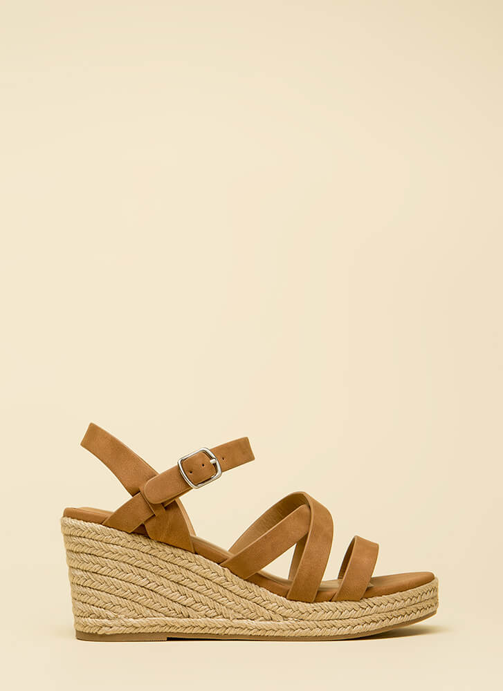 Strappy-Go-Lucky Espadrille Wedges TAN