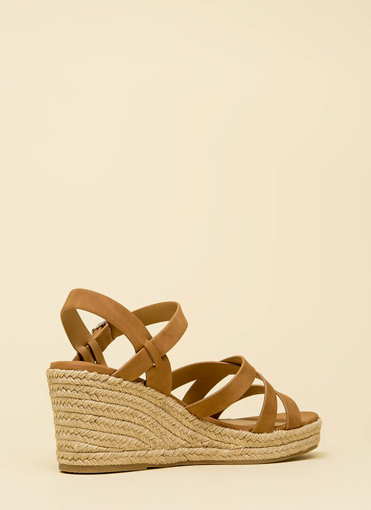 Strappy-Go-Lucky Espadrille Wedges TAN (Final Sale)