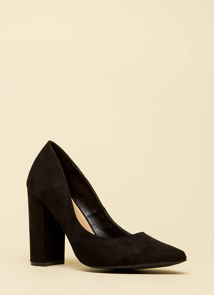 Good Point Chunky Faux Suede Pumps BLACK