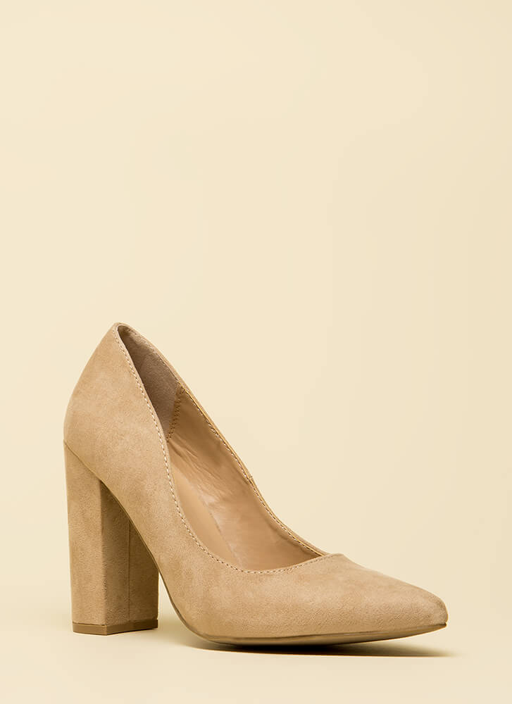Good Point Chunky Faux Suede Pumps NATURAL