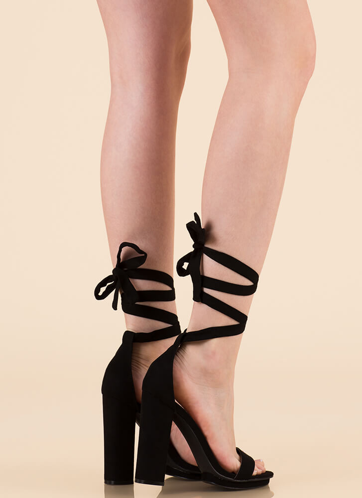 Getting Gorgeous Chunky Lace-Up Heels BLACK
