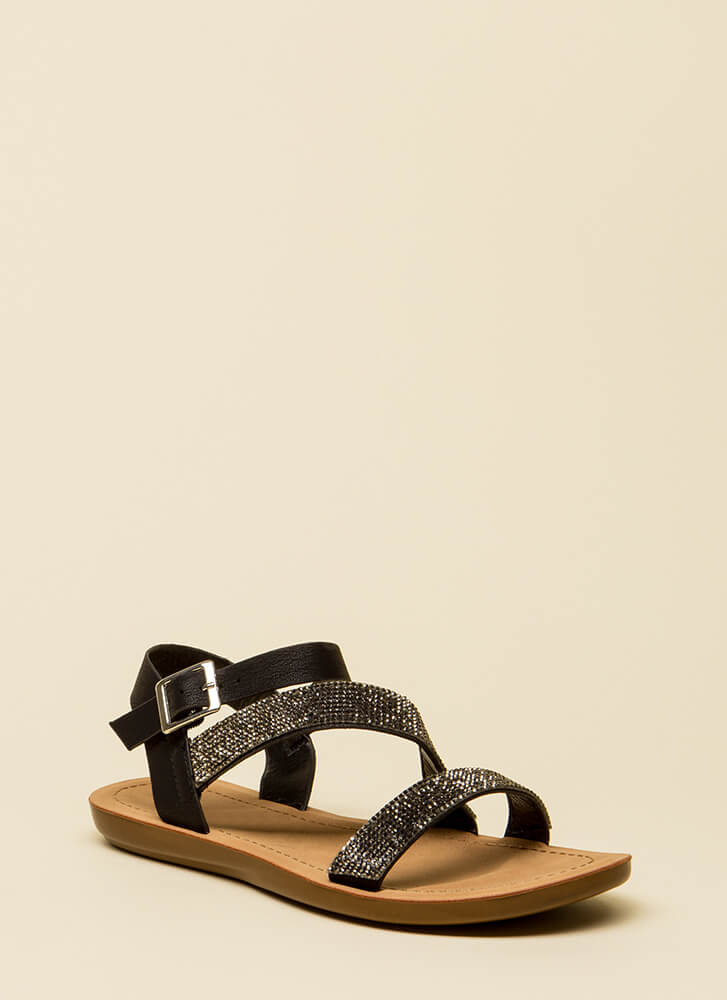 Sun And Sparkle Jeweled Strappy Sandals BLACK