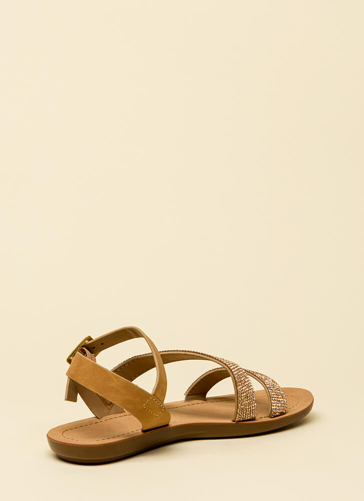 Sun And Sparkle Jeweled Strappy Sandals CHESTNUT