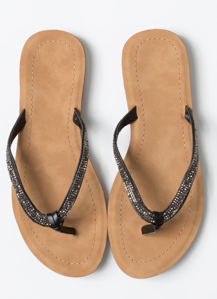 Sun And Sparkle Jeweled Thong Sandals BLACK