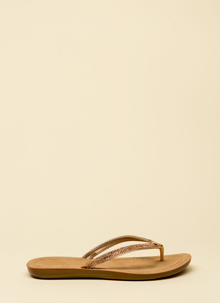 Sun And Sparkle Jeweled Thong Sandals ROSEGOLD
