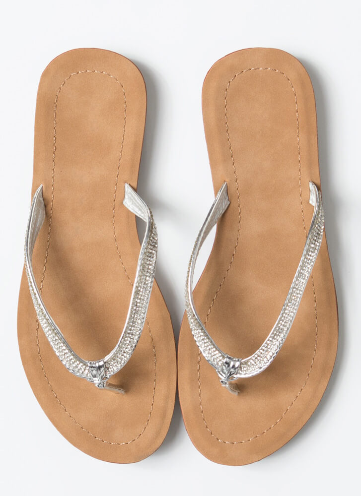 Sun And Sparkle Jeweled Thong Sandals SILVER