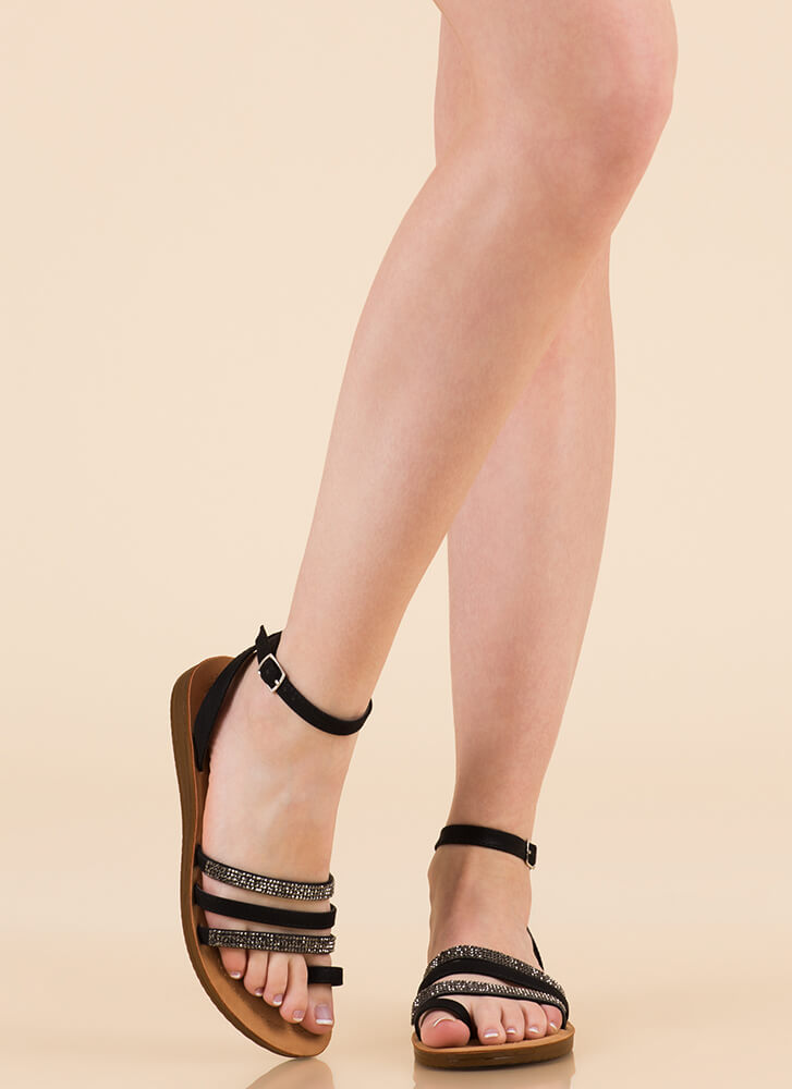 Dressing Up Strappy Jeweled Sandals BLACK