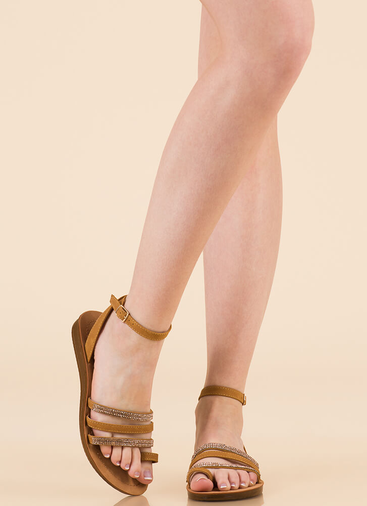 Dressing Up Strappy Jeweled Sandals CHESTNUT