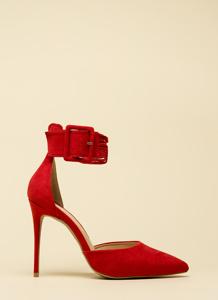Cord Progression Pointy Cuffed Heels RED