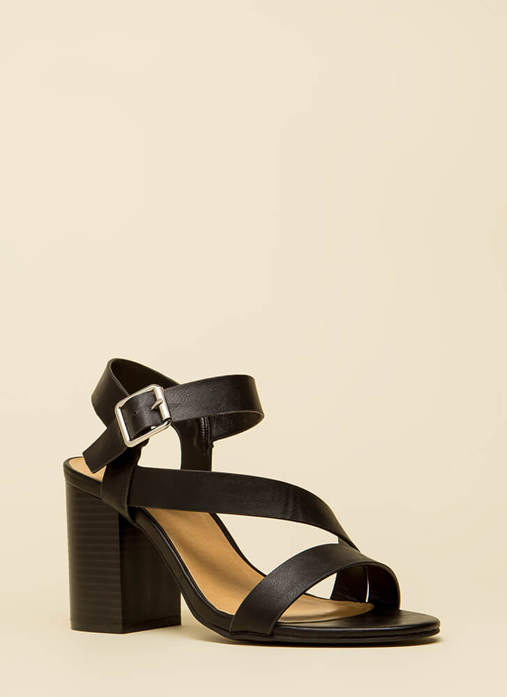 Ready For Anything Chunky Strappy Heels BLACK (You Saved $17)