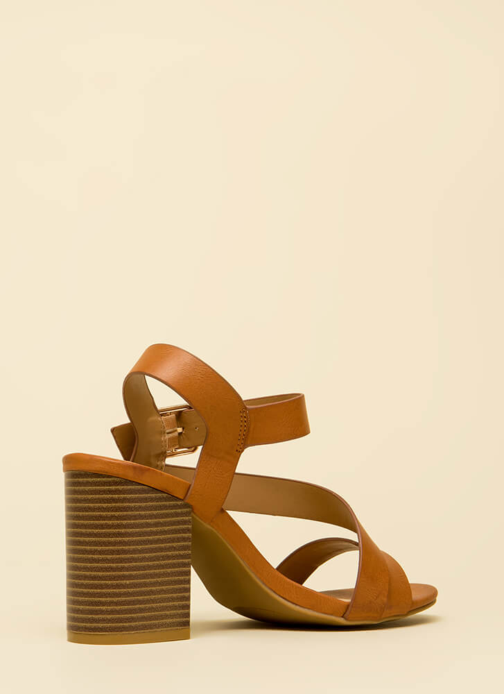 Ready For Anything Chunky Strappy Heels TAN (You Saved $17)