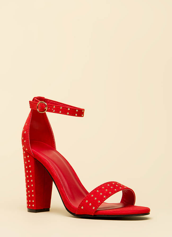Fashion Frenzy Chunky Studded Heels RED