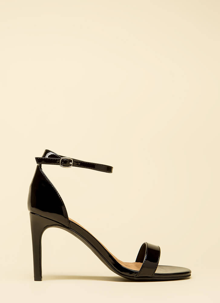 Deep Desire Strappy Faux Patent Heels BLACK