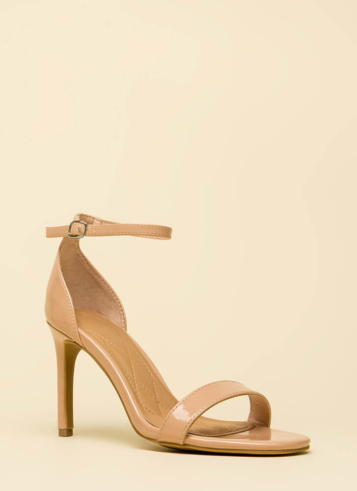 Deep Desire Strappy Faux Patent Heels NUDE