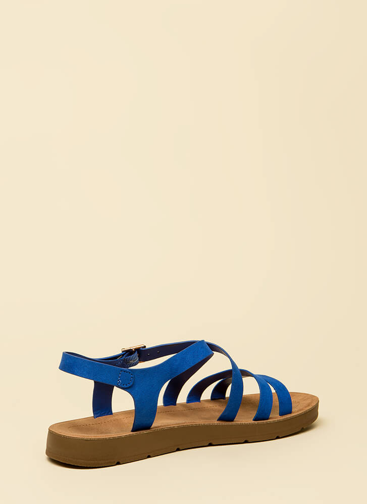 Pursuit Of Strappy-ness Platform Sandals BLUE