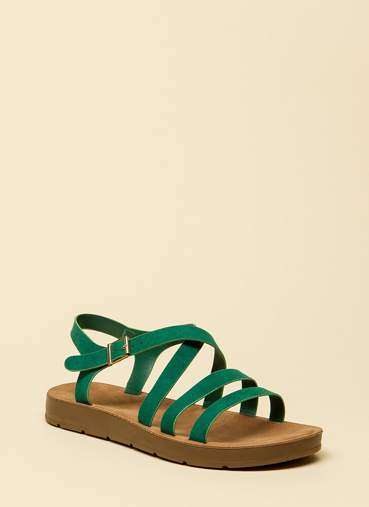 Pursuit Of Strappy-ness Platform Sandals GREEN
