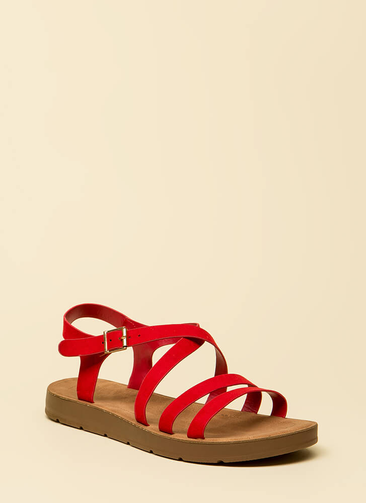 Pursuit Of Strappy-ness Platform Sandals RED