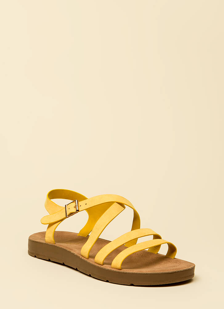 Pursuit Of Strappy-ness Platform Sandals YELLOW