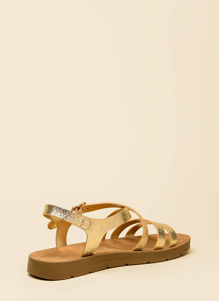 Pursuit Of Strappy-ness Metallic Sandals GOLD
