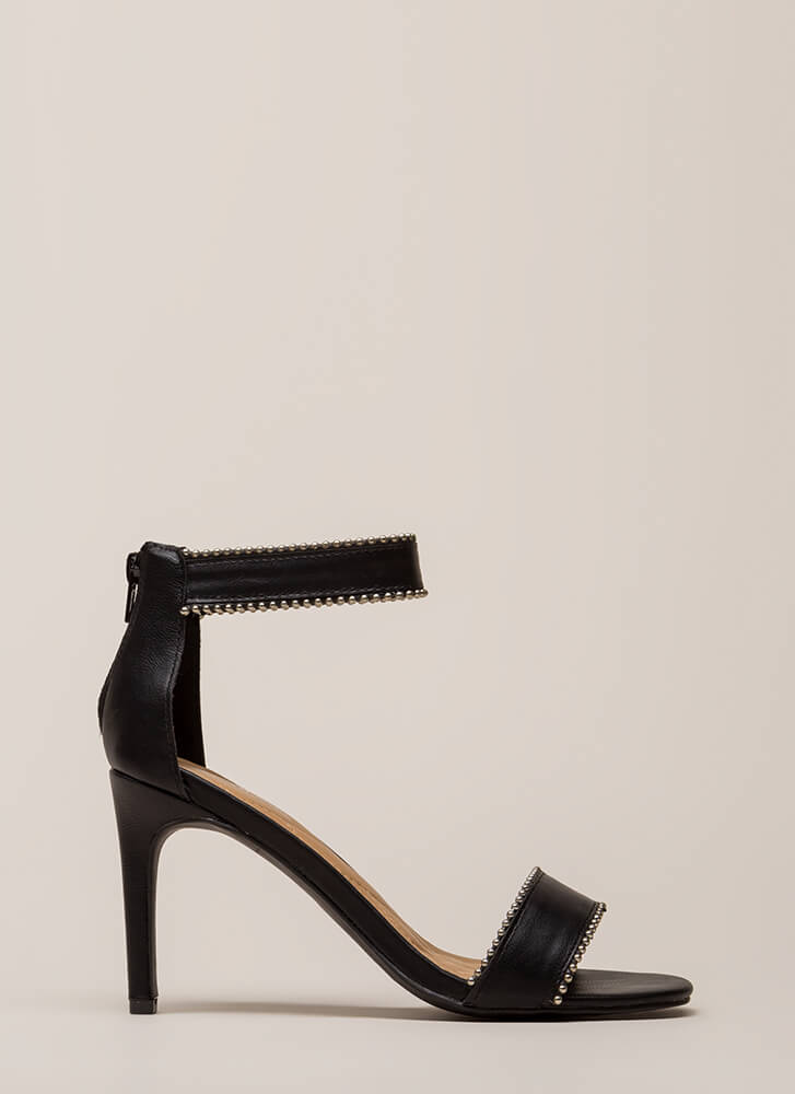 A Slight Edge Studded Trim Heels BLACK