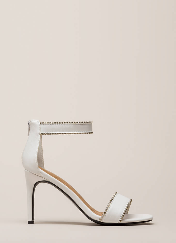 A Slight Edge Studded Trim Heels WHITE