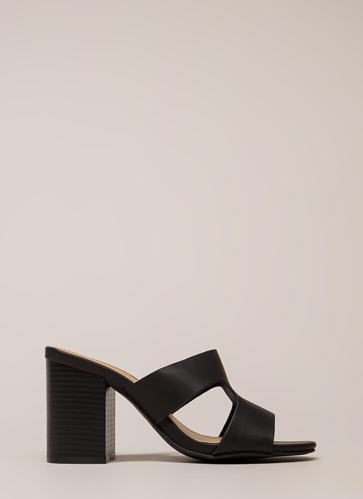 New Class Chunky Cut-Out Mule Heels BLACK