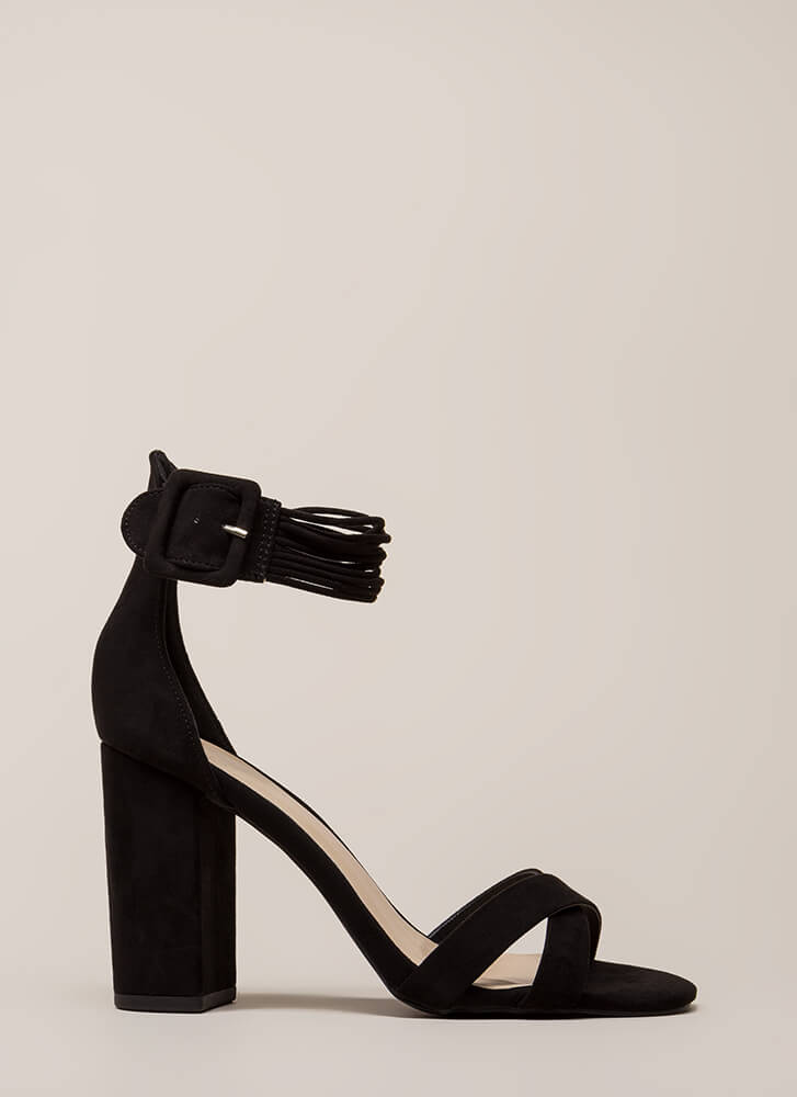 The Right Cords Chunky Strappy Heels BLACK