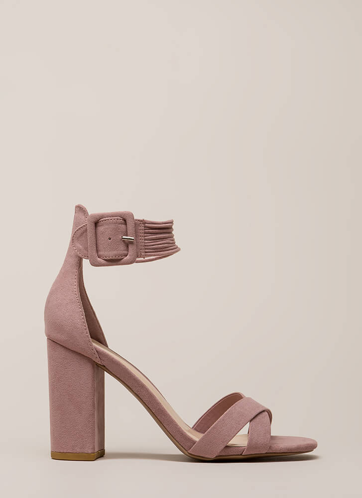The Right Cords Chunky Strappy Heels DESERTROSE