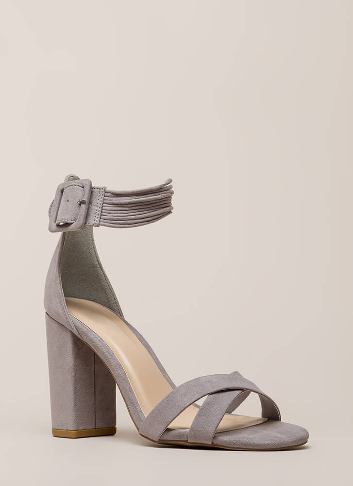 The Right Cords Chunky Strappy Heels LTGREY