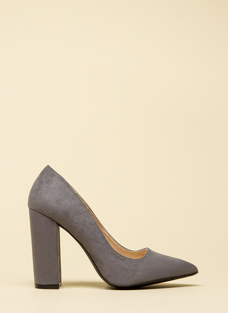 Chunky Pointy And Perfect Pumps STEELGREY