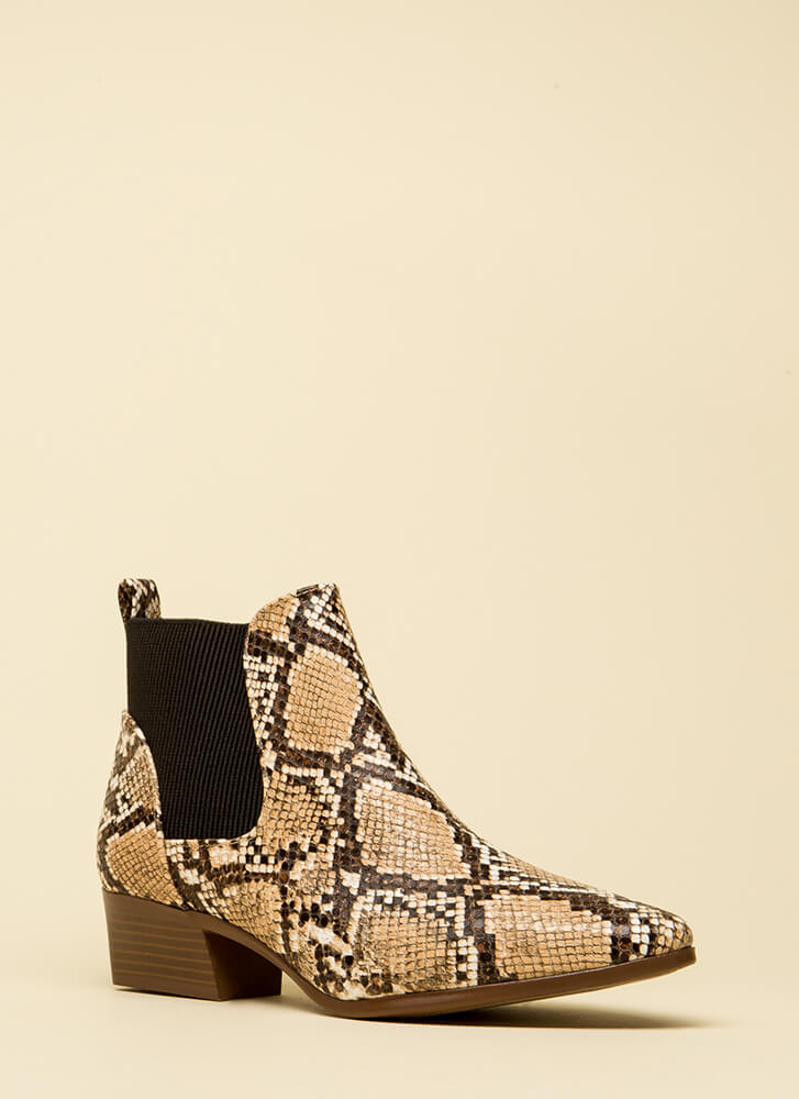 Ready For Anything Faux Snake Booties by Go Jane
