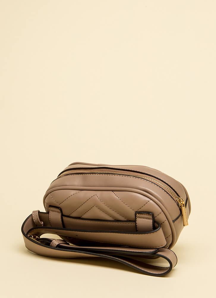 Quilty As Charged Stitched Fanny Pack TAUPE