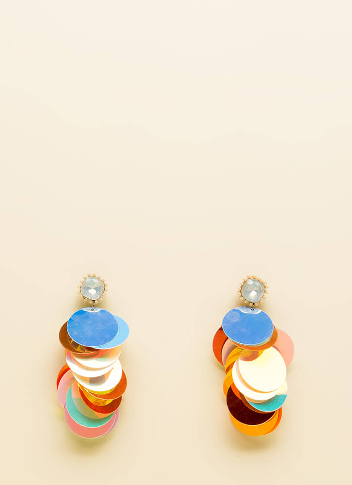 Stunning Statement Jeweled Disc Earrings ORANGE
