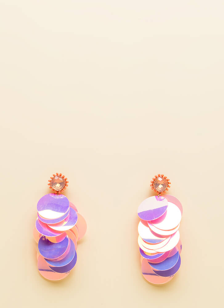 Stunning Statement Jeweled Disc Earrings PINK