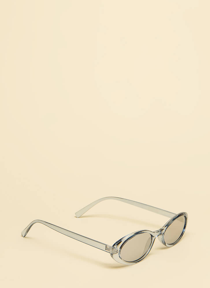 Get Oval It Clear Frame Sunglasses BLUE
