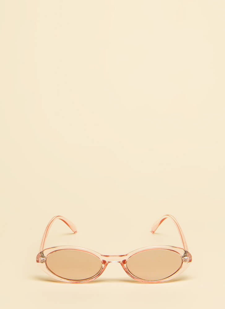 Get Oval It Clear Frame Sunglasses PINK