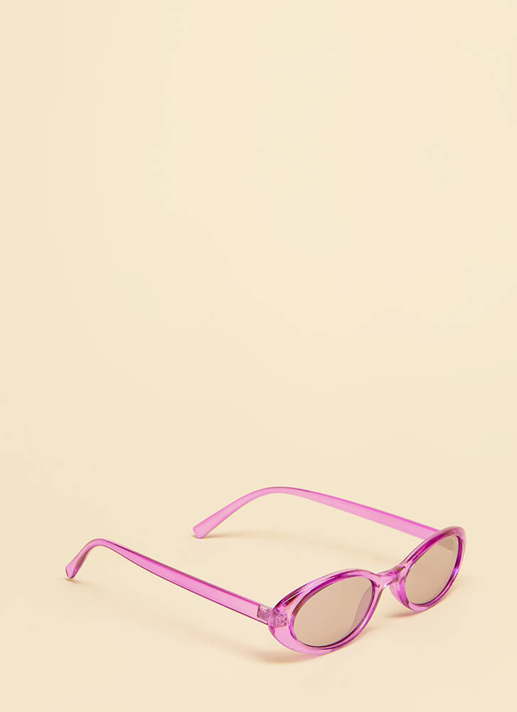 Get Oval It Clear Frame Sunglasses PURPLE