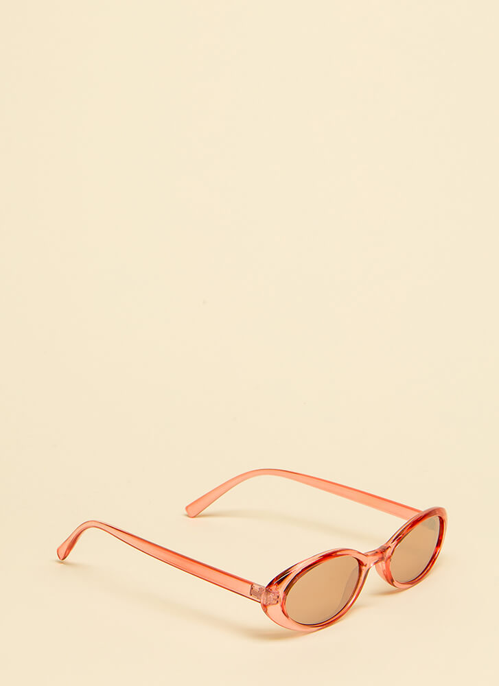 Get Oval It Clear Frame Sunglasses RED
