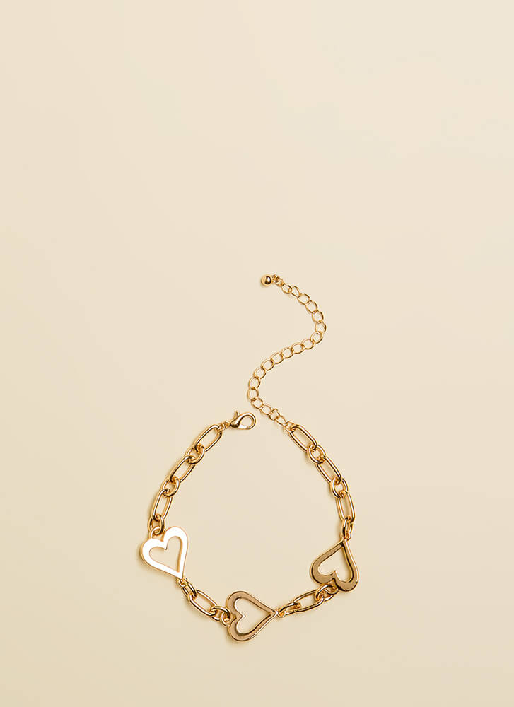 Heart To Heart To Heart Charm Bracelet GOLD